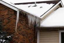 Ice dams on a roof in Manassass Virginia, outside of Washington DC where The Fifth Fuel performs home retrofits
