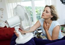 Woman in front of fan because she is too hot during the summer months in her Arlington, VA home