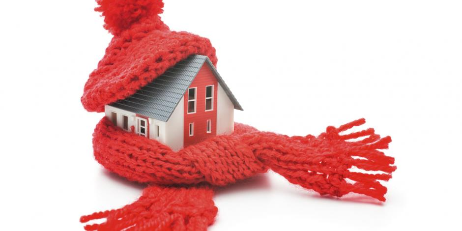 House wrapped with a scarf. Indicating you need to insulate to keep warm with The Fifth Fuel